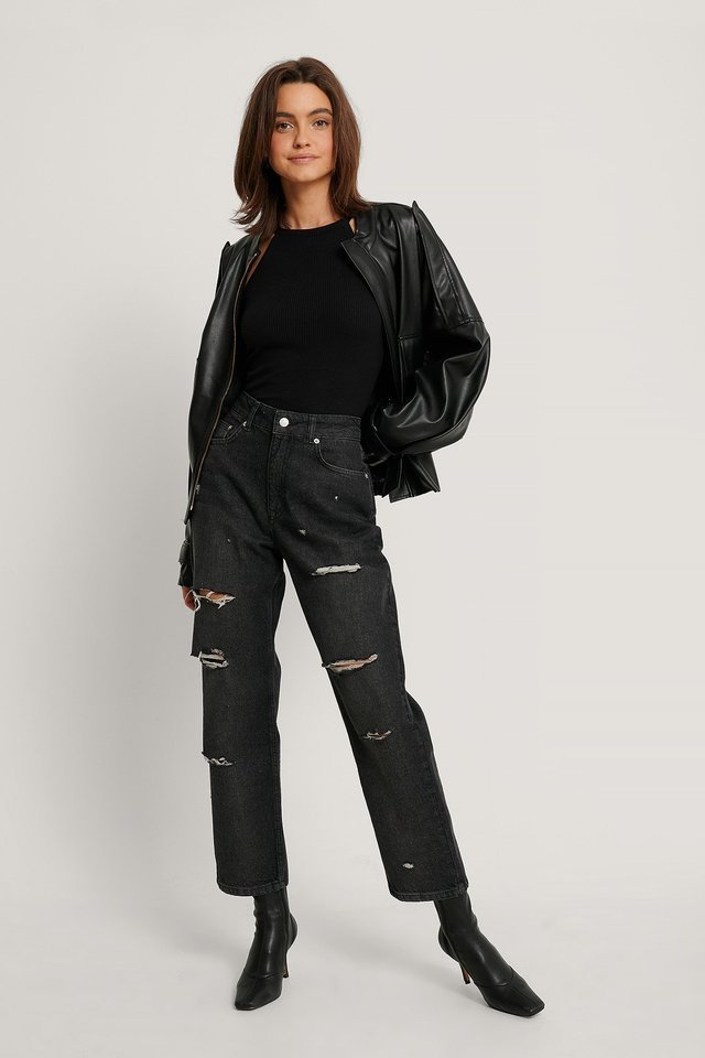 Black Destroyed High Waist Cropped Jeans