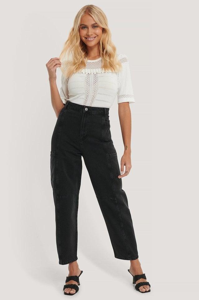 Organic Loose Leg Balloon Jeans Black Outfit.