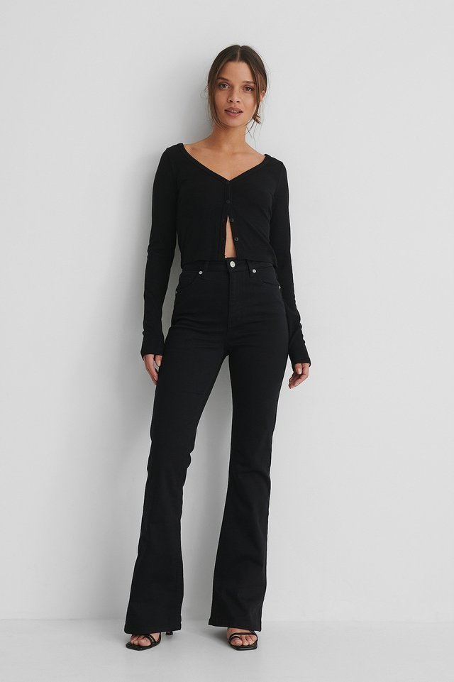 Black Bootcut High Waist Skinny Jeans
