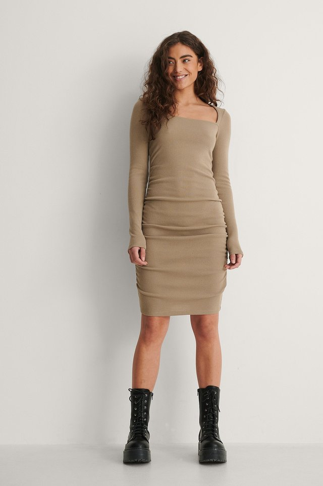 Recycled Square Neck Rouched Dress Outfit.