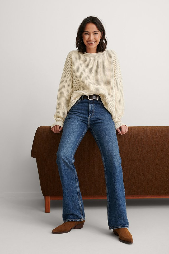 Waffle Knit Round Neck Sweater Outfit.