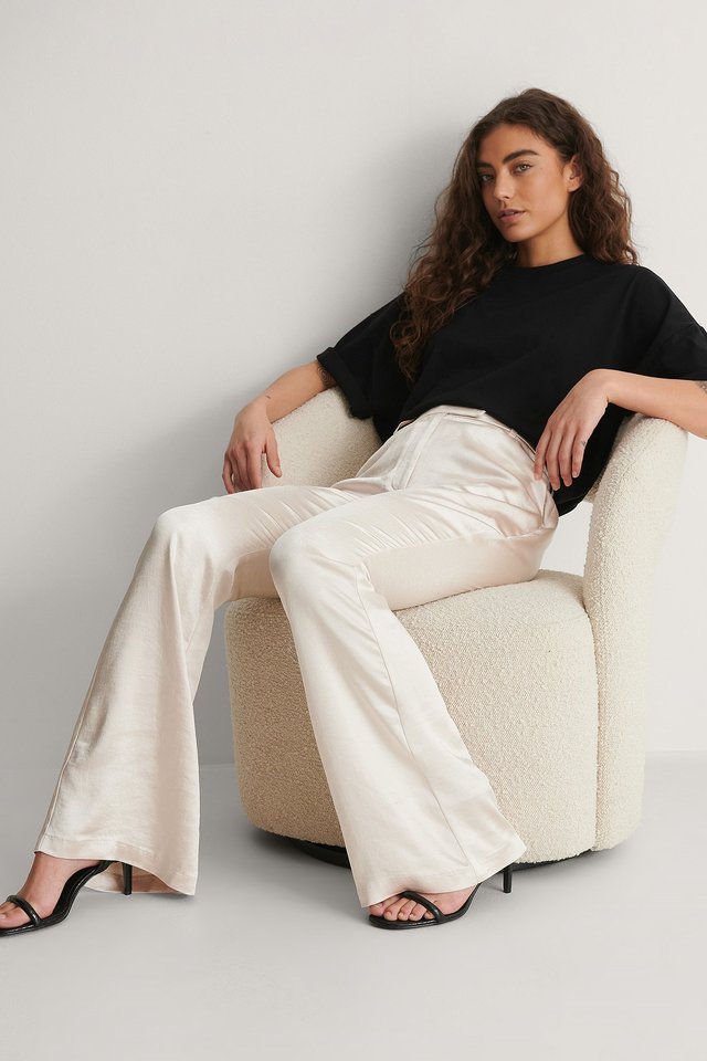 Satin Flared Suit Pants Outfit.
