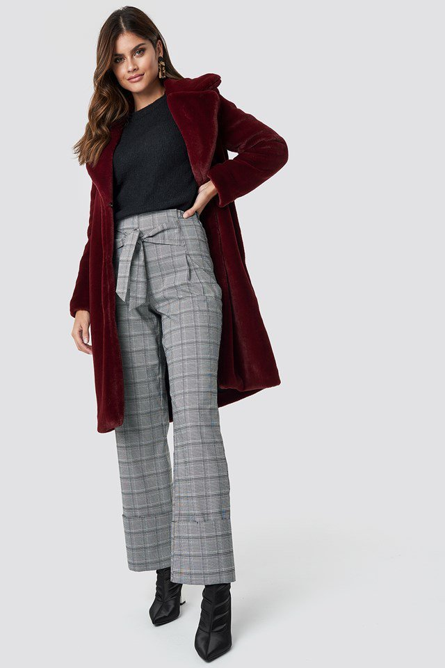 Checkered Pant with Sweater and Statement Jacket Outfit