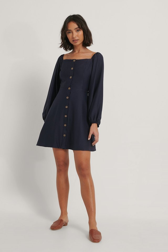 Button Detail Mini Dress Outfit.