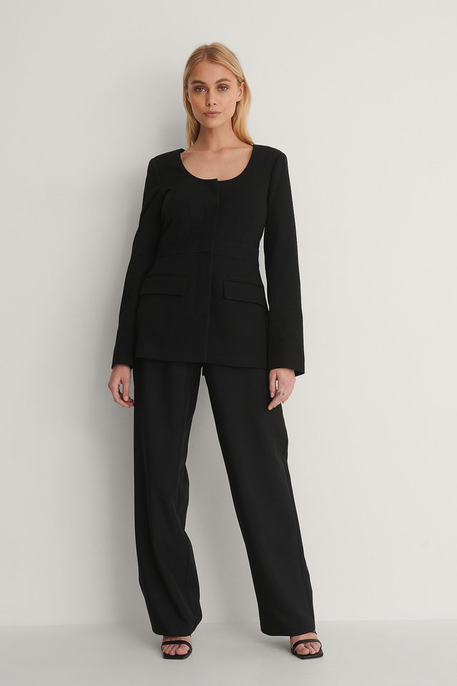 Rounded Neckline Blazer Outfit.