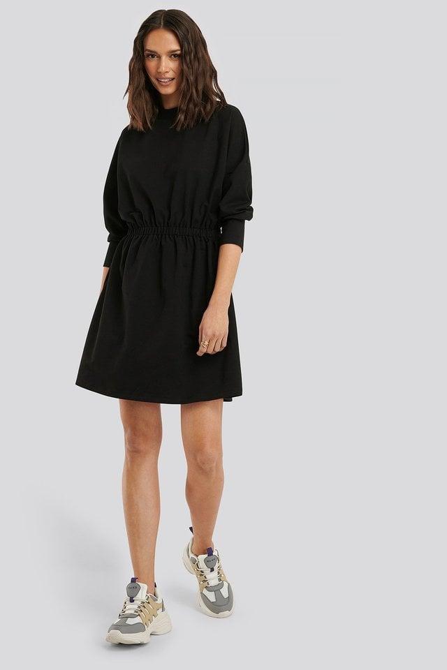 Waist Pleated Mini Dress Outfit.