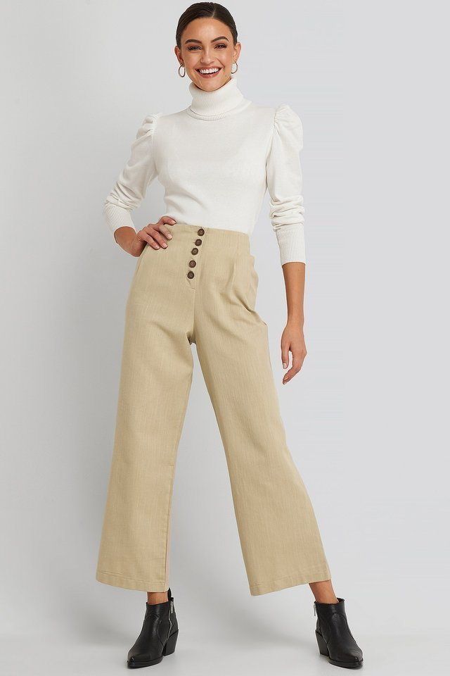 Front Button Detailed Trousers Outfit.