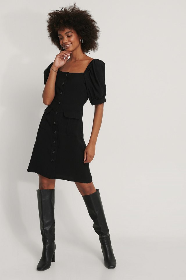 Button Up Short Puff Sleeve Dress Outfit.