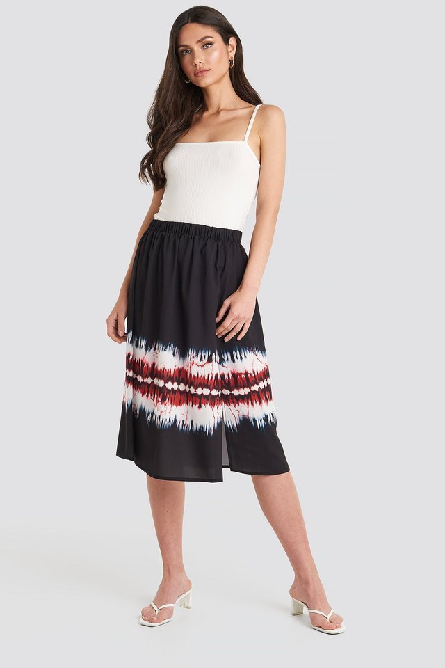 Tie Dye Print Side Split Skirt Outfit.