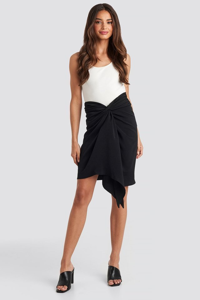 Front Twist Skirt Outfit.