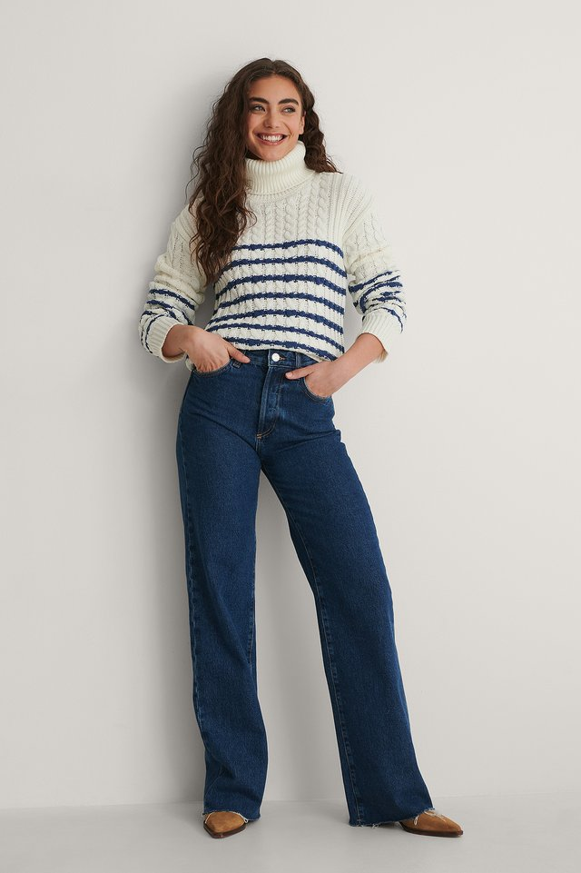 Cable Knitted Striped Sweater Outfit.