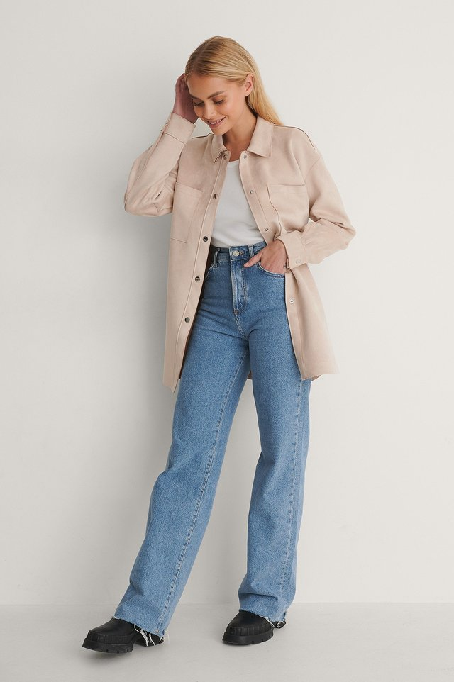 Fake Suede Belted Overshirt Outfit.