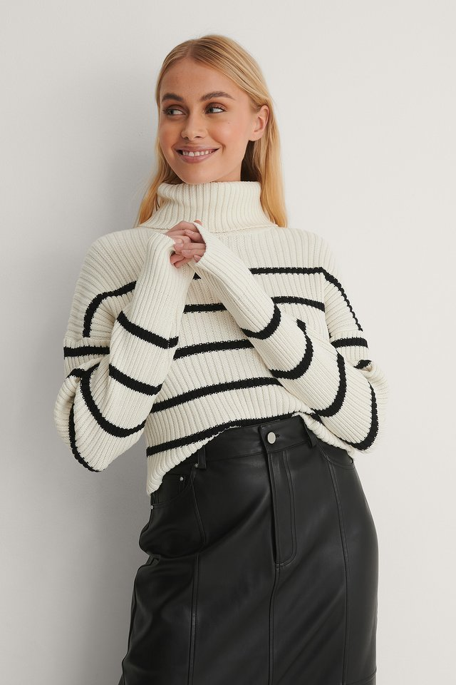 High Neck Striped Cropped Knitted Sweater Outfit.