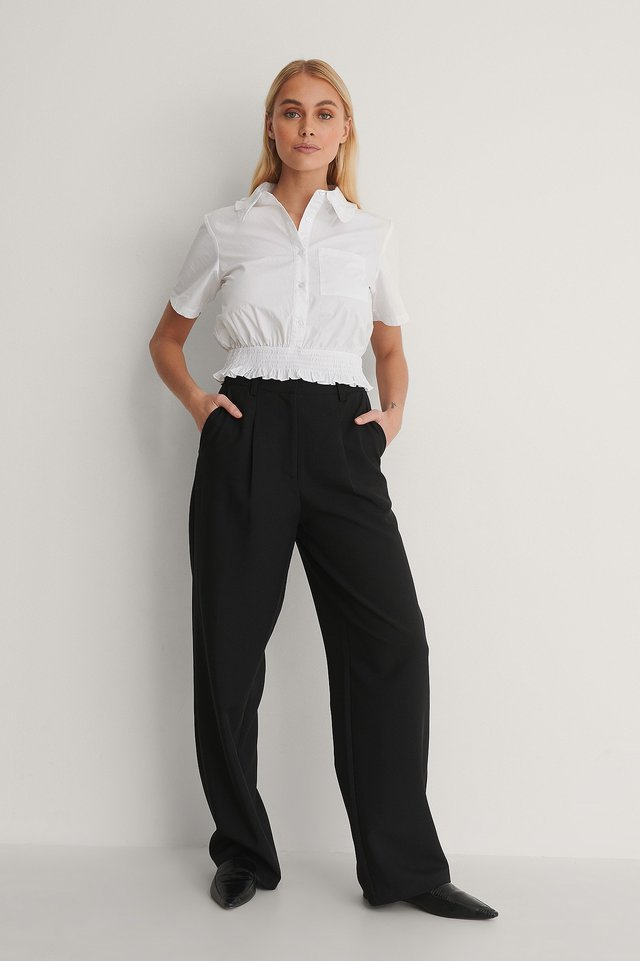 Short-Sleeve Frill Shirt Outfit.