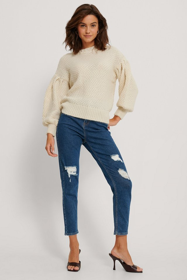 Sleeve Detailed Knit Sweater Outfit.