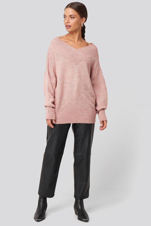 Slip Shoulder Knitted Sweater Outfit.