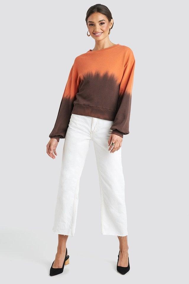 Black Tie Dye Oversized Cropped Sweatshirt