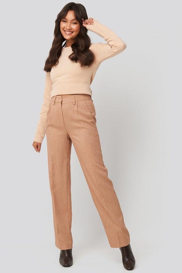 Beige Melange Straight Fit Suit Pants