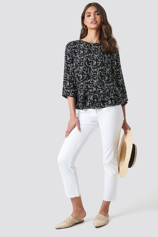 Frill Flower Printed Blouse Outfit.