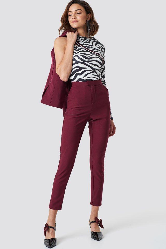 Slim Leg Suit Pants and Boning Detail Blazer