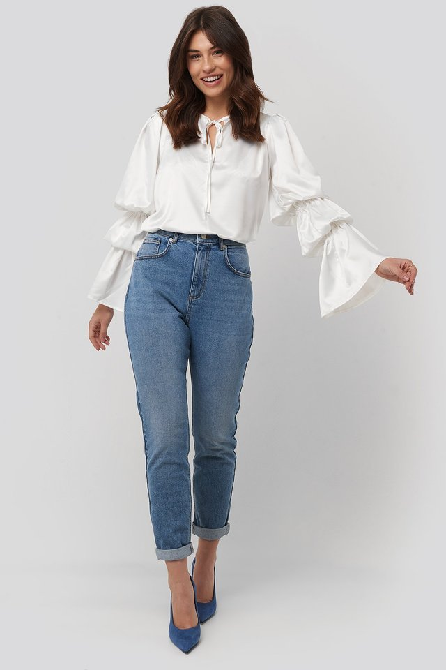 Gathered Fluted Sleeve Blouse Outfit.