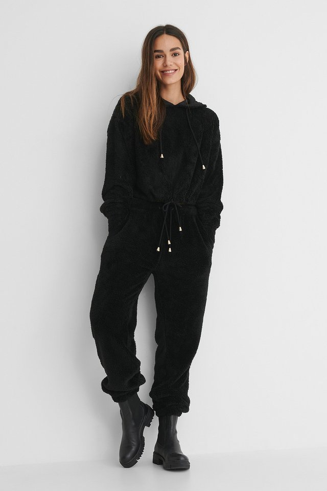 Black Teddy Drawstring Jogger Pants