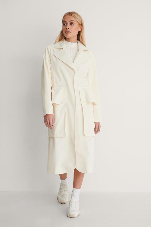 Big Pocket Drawstring Trench Coat Outfit!