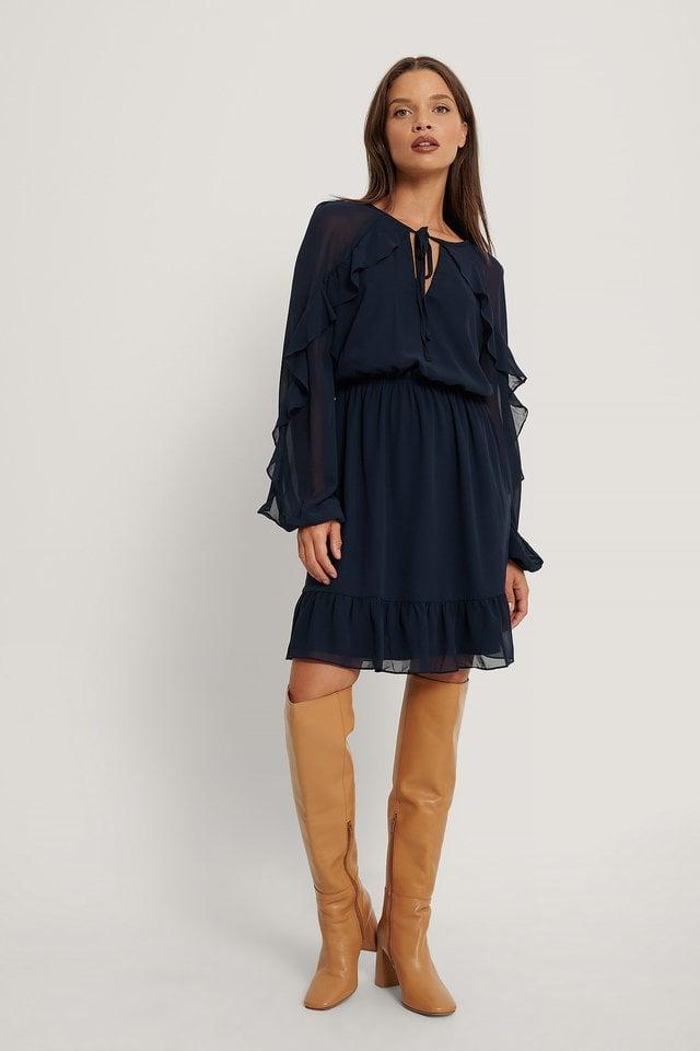 Carmen Ruffle Mini Dress Outfit.