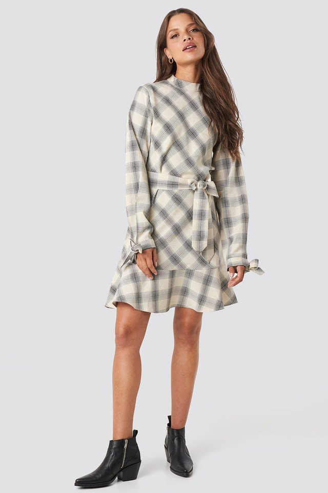Checked Flounce High Neck Dress Outfit.