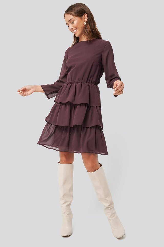 Chiffon Flounce Mini Dress Outfit.