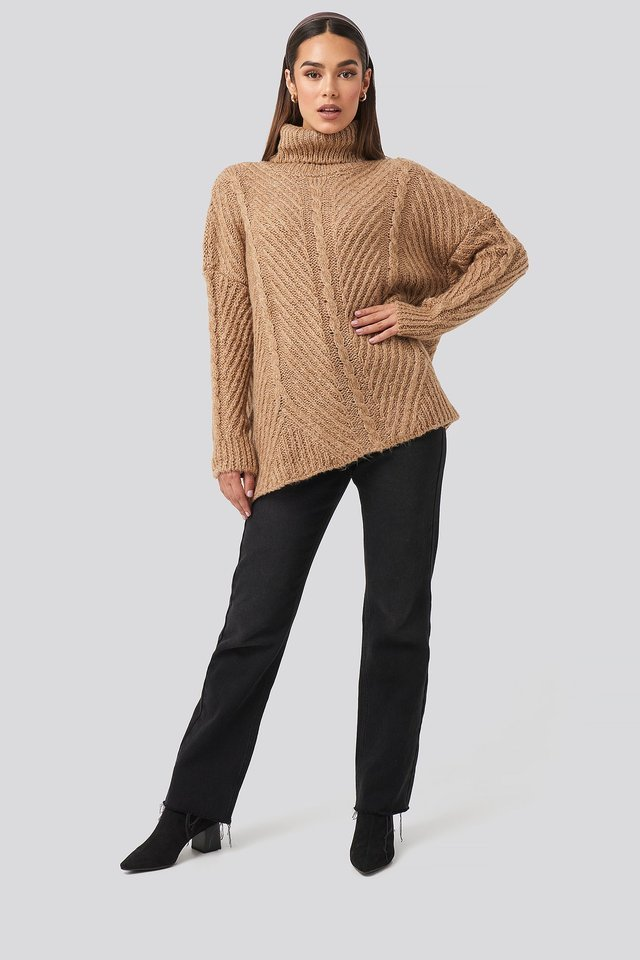 Turtleneck Long Knitted Sweater Outfit.