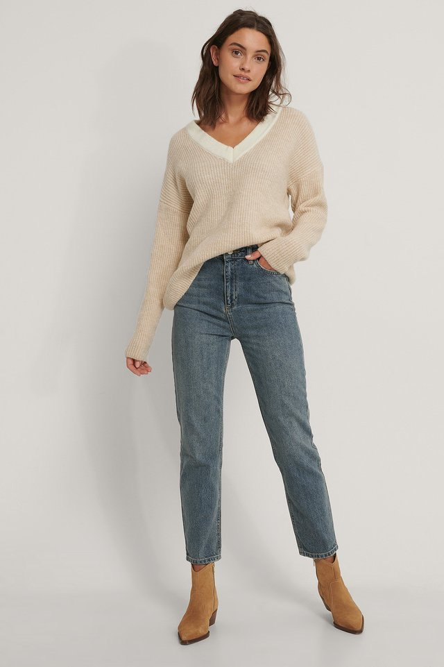 V-Neck Knit Sweater Outfit.
