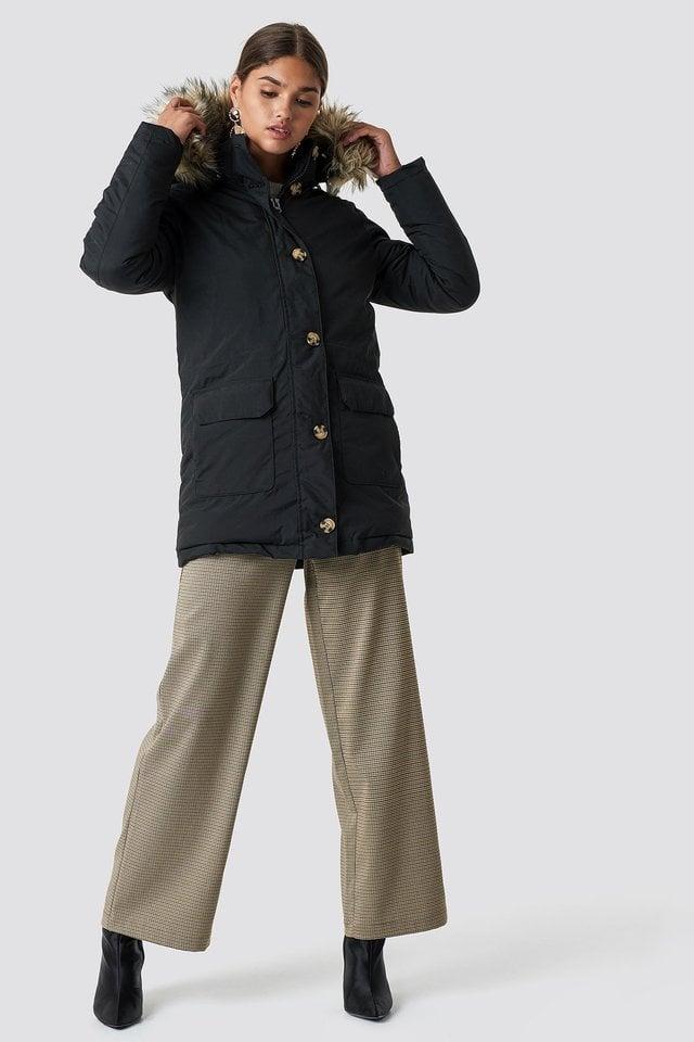 Midi Parkas Black Outfit.