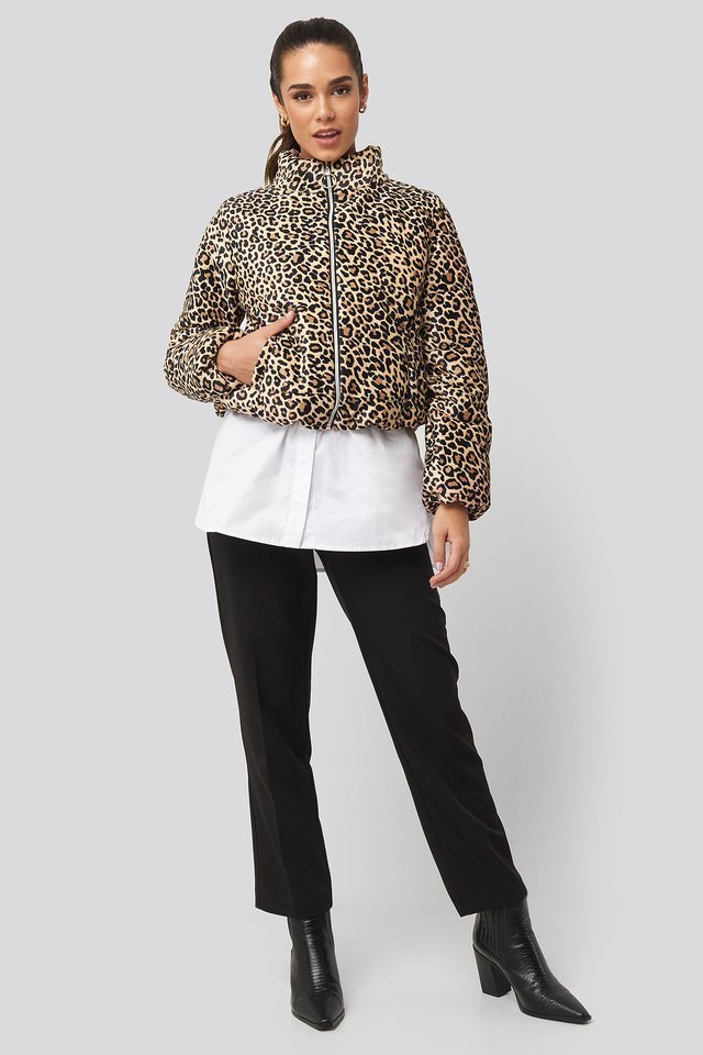 Zipper Leopard Pattern Velvet Crop Jacket Multicolor.