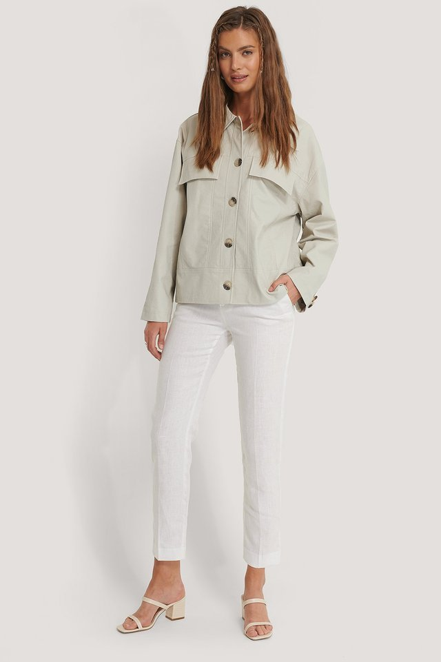 Front Pocket Pu Jacket Beige Outfit.
