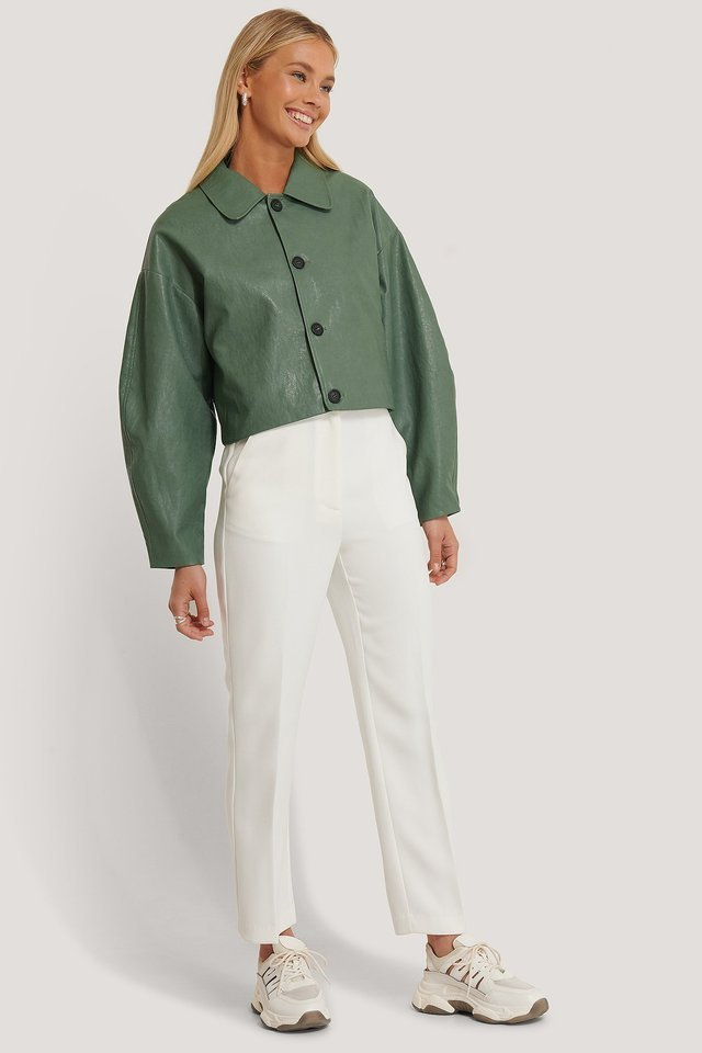 Boxy PU Jacket Green Outfit.