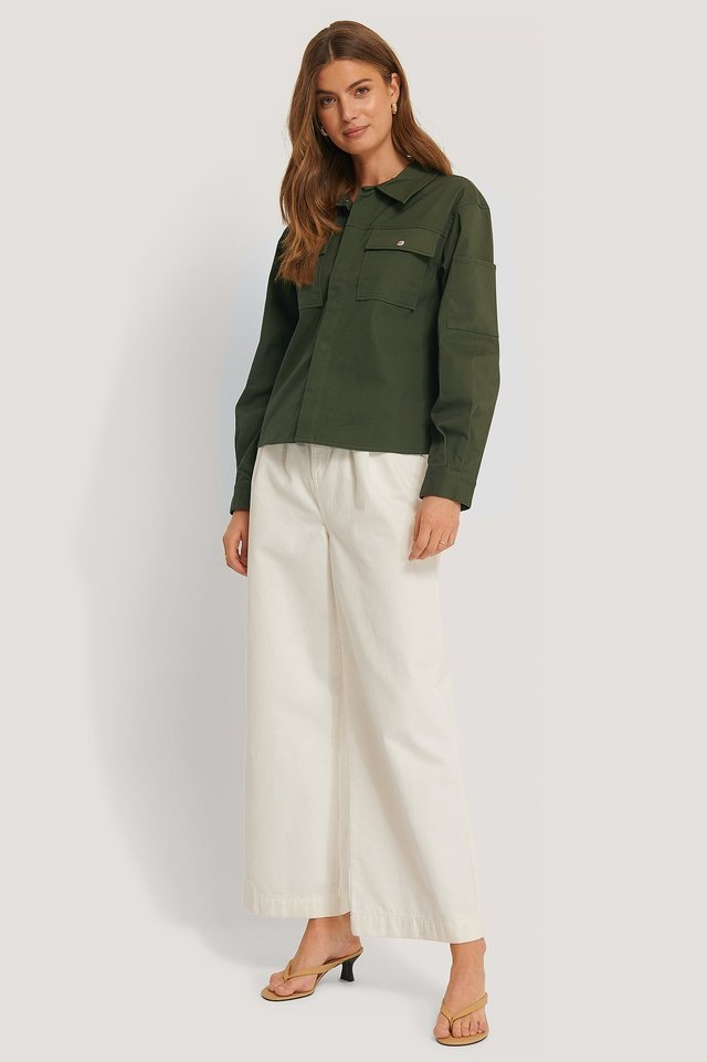 Cotton Boxy Jacket Green Outfit.