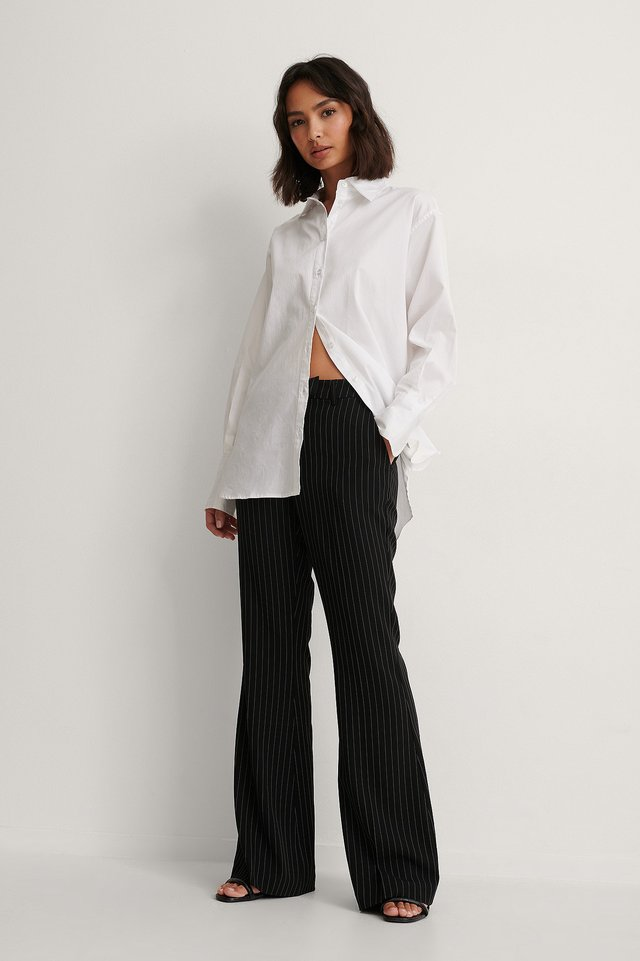Flared Pinstriped Pants Outfit.