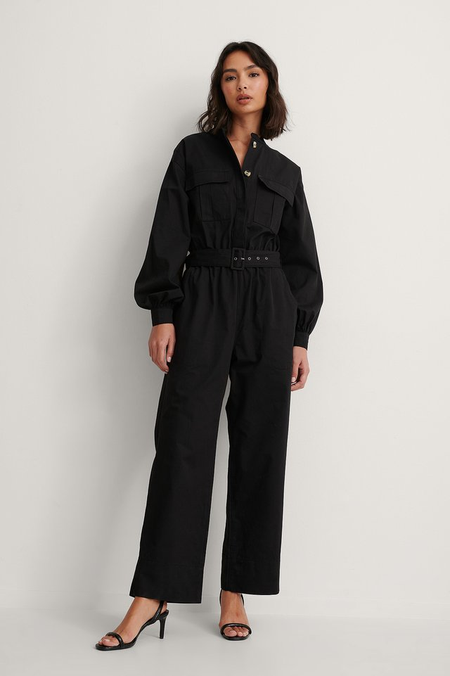 Relaxed Belted Jumpsuit Outfit.