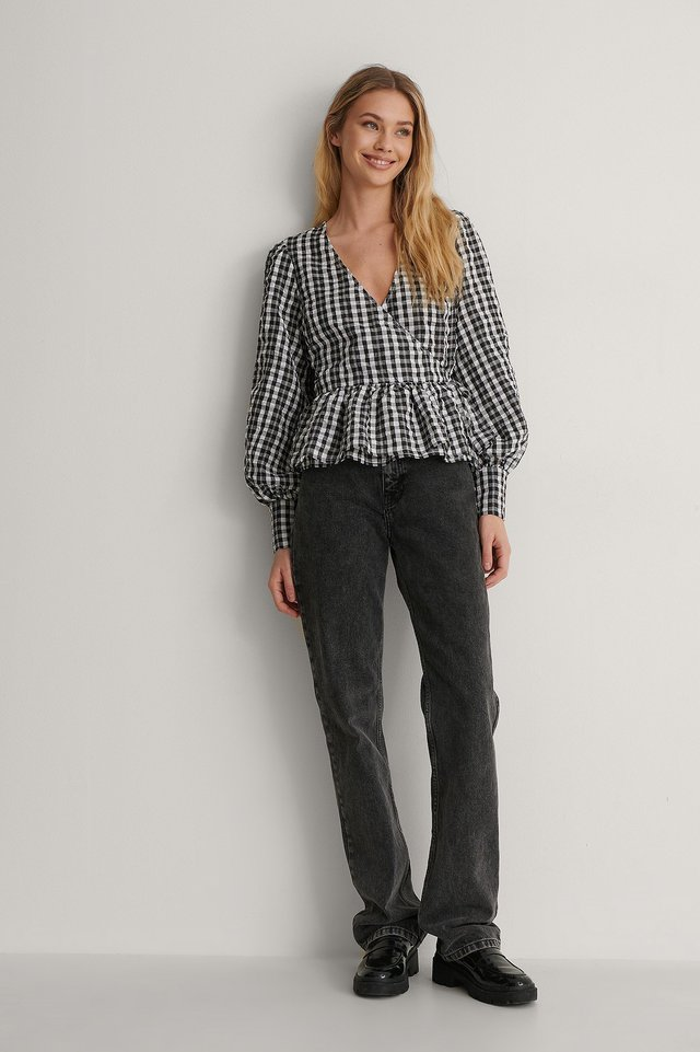 Checkered Tie Side Blouse Outfit.
