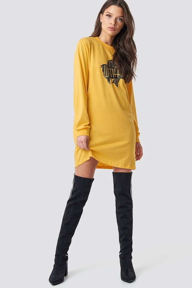 Yellow Oversized LS T-Shirt Dress