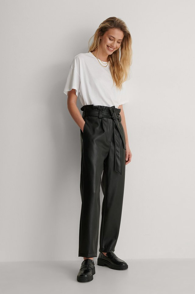 Paperwaist PU Pants Outfit.