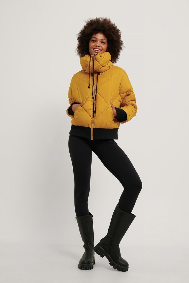 Quilted Puffa Jacket Yellow.