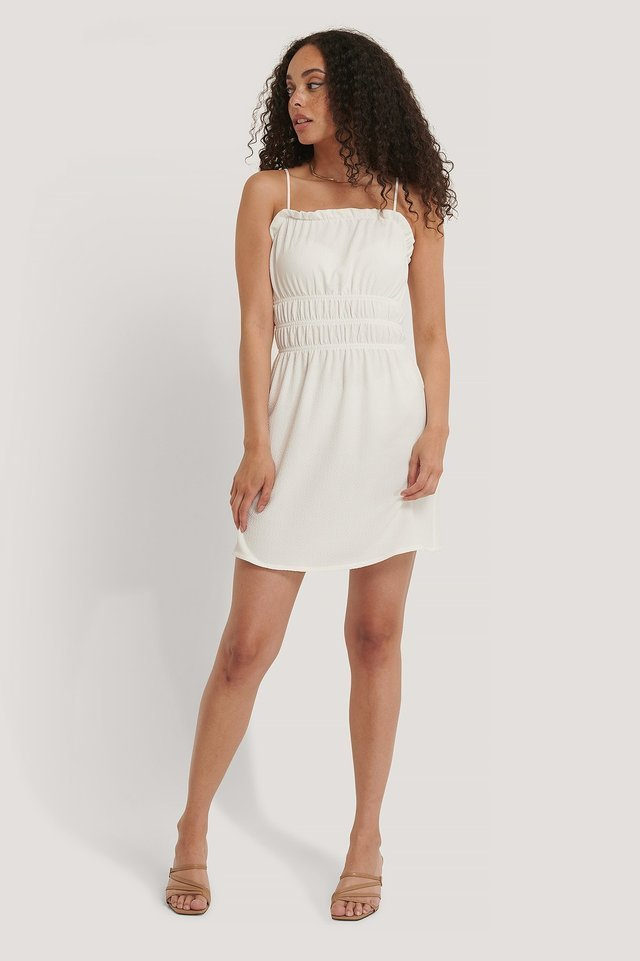 Structured Smock Waist Mini Dress White.