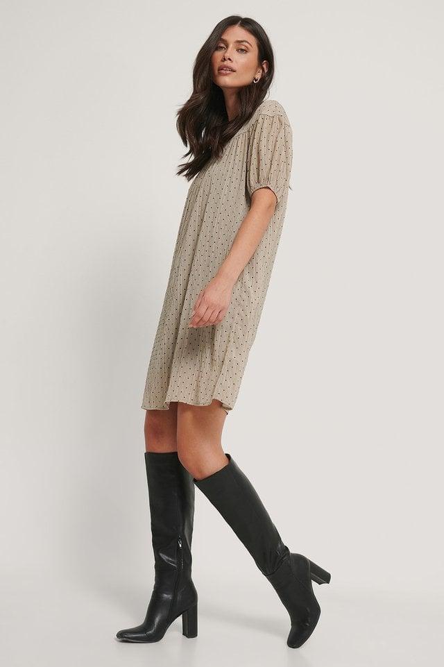 Structured Round Neck Short Sleeve Dress Beige.