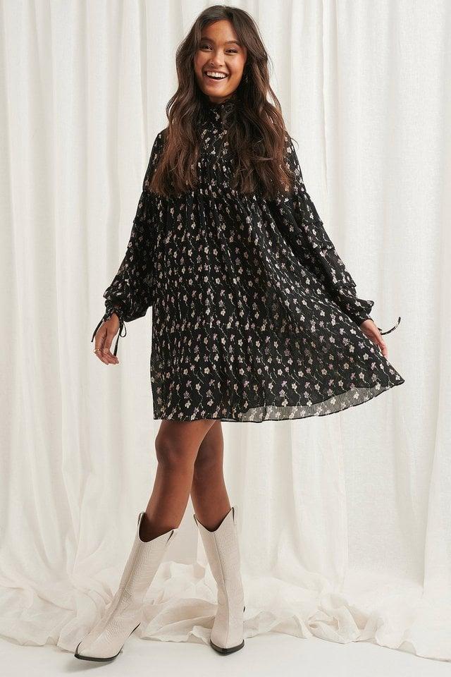 Black Flower Print Structured Flower Printed Dress