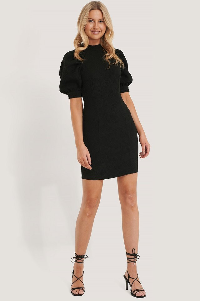 Structured Fitted Puff Sleeve Dress Black.