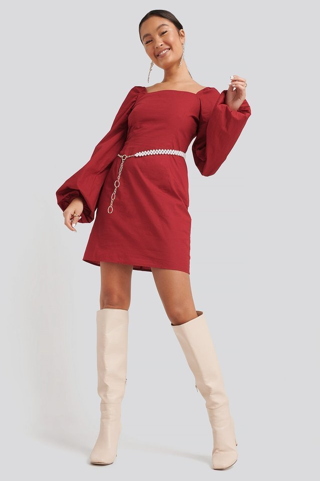 Square Neck Balloon Sleeve Dress Red.