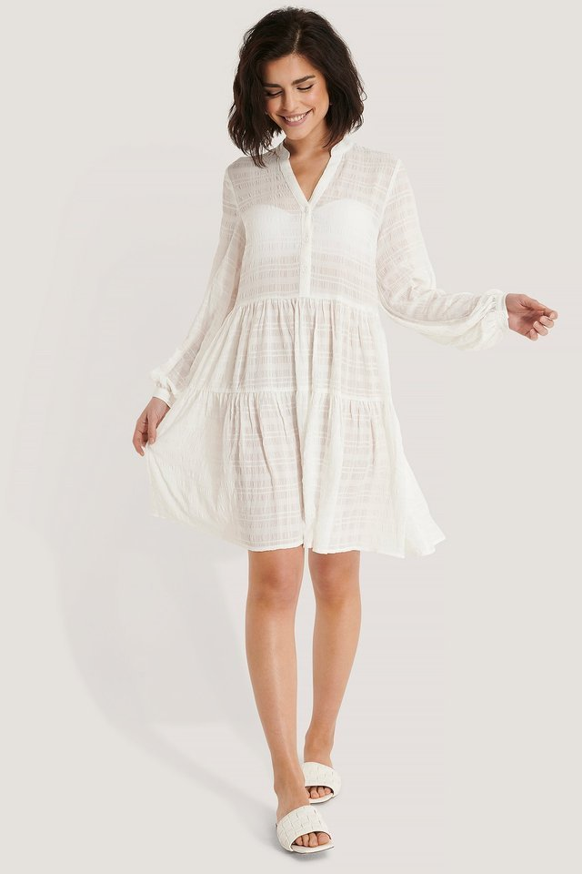 Structured A-Line Dress White.