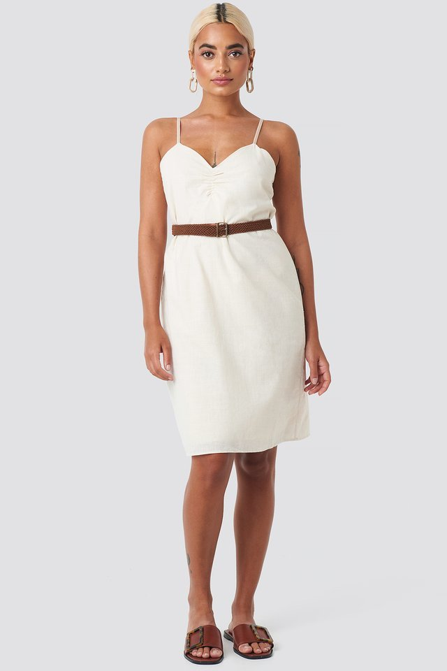 Strap Linen Mini Dress White.